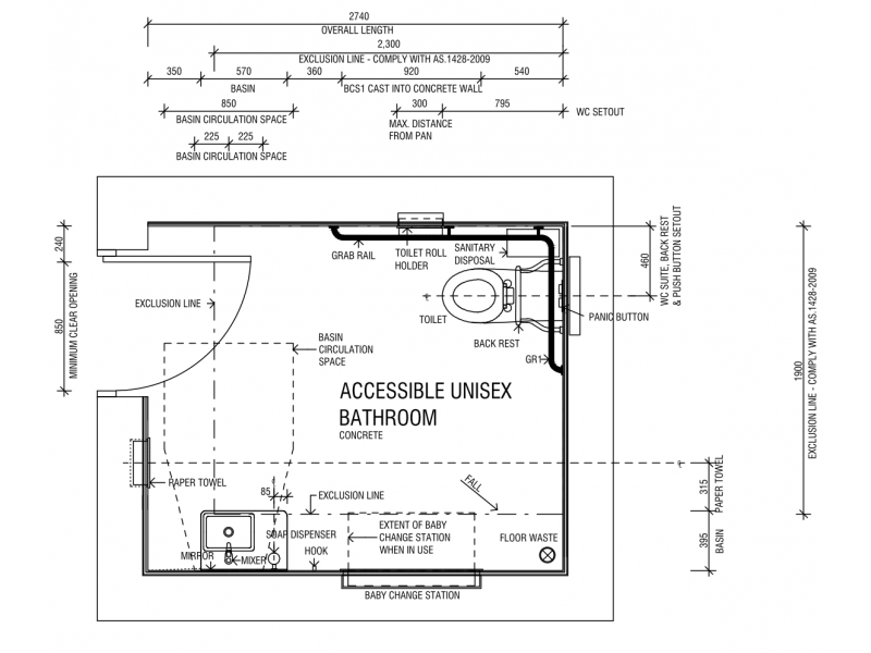 Accessible Unisex Bathroom Plan