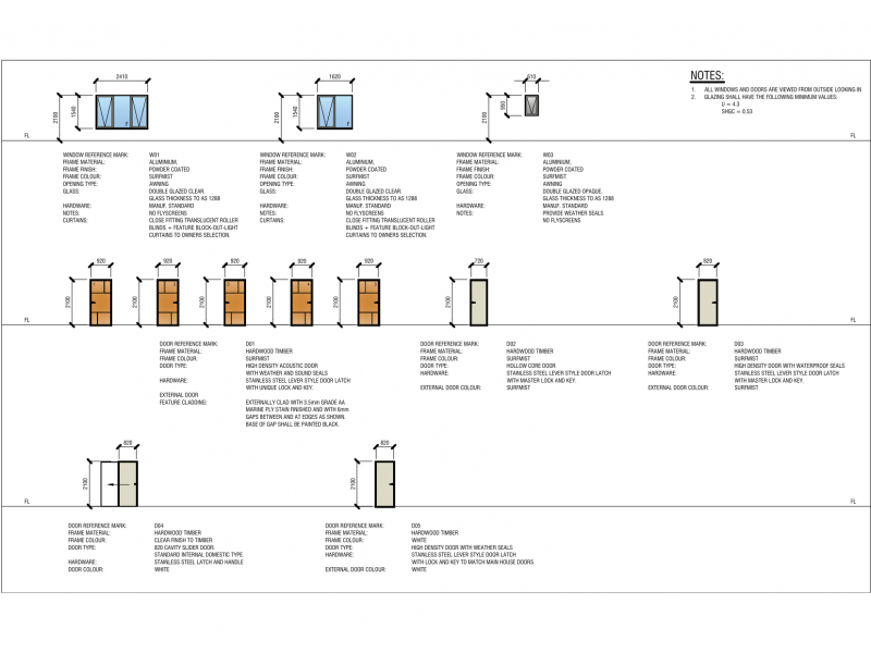 Door and Window Schedule Sample