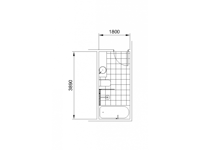 Bathroom Layout - Long Rectangle
