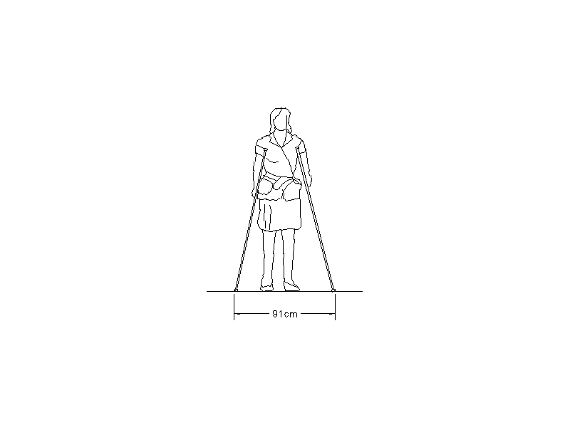 Female on Crutches - Elevation