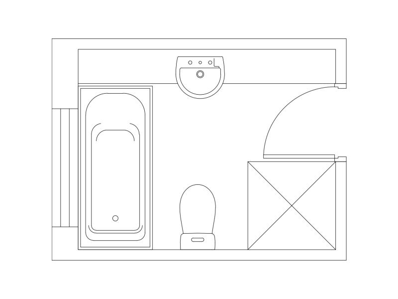 Floor Plan Sample - Bath Loo 900 square shower and a BIG vanity