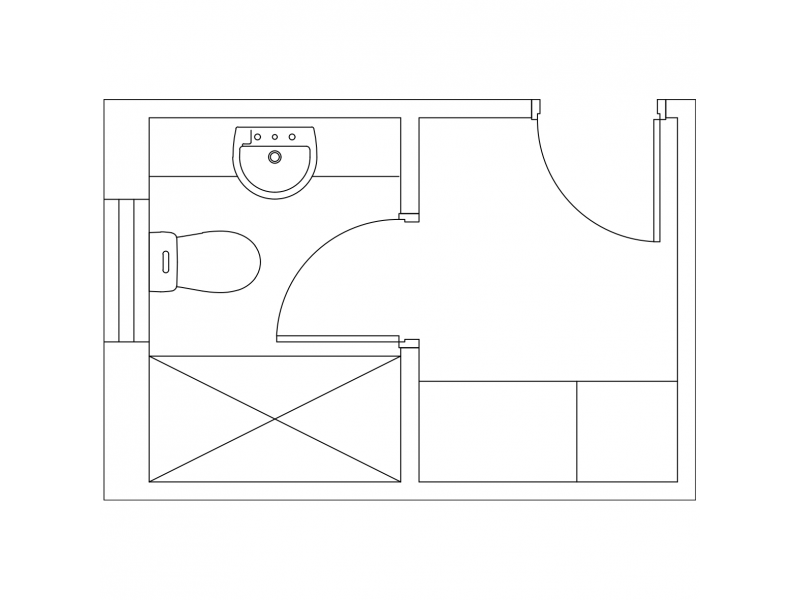 Floor plan of a WC Shower Vanity and Laundry