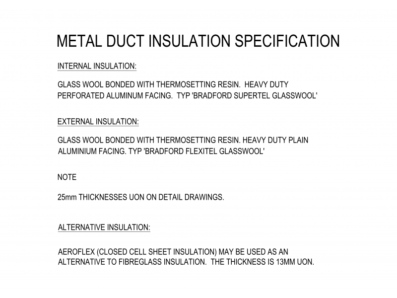 Metal Duct Insulation Specification