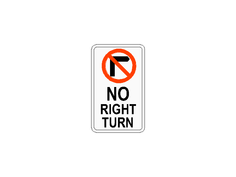 No Right Turn Traffic Sign