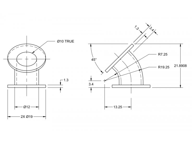 P8-5 draw elbow pipe and flanges exercise