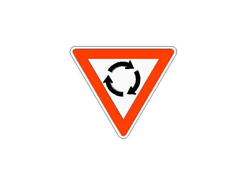 Roundabout Giveway Traffic Sign