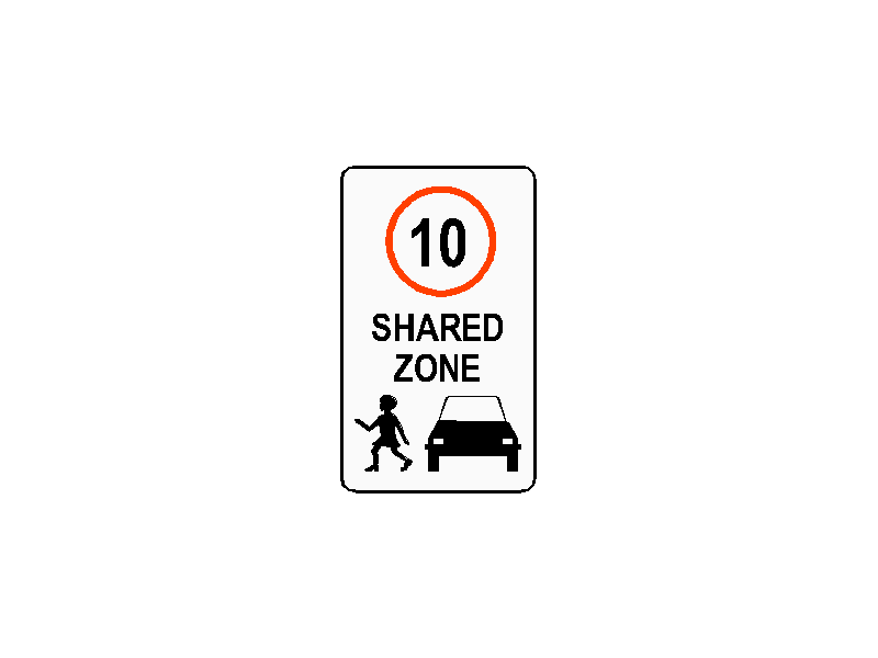 Shared Zone Traffic Sign