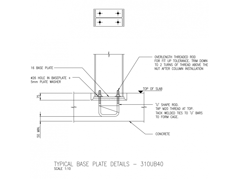 Typical Base Plate Details - 310UB40