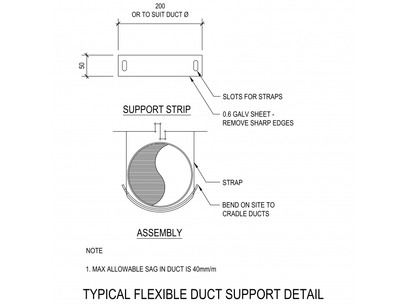 Typical Flexible Duct Support Detail