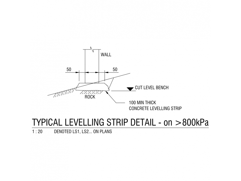 Typical Levelling Strip Detail on greater 800 kPa Rock
