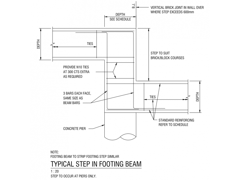 Typical Step in Footing Beam
